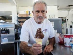 Chocolate dipped ice cream cone